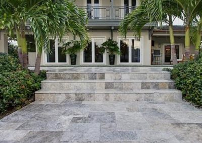 silver travertine unfilled and tumbled french pattern step treads and riser