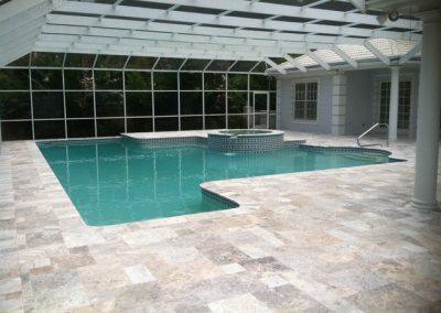 Silver Travertine Pool Tiles French Pattern non slip
