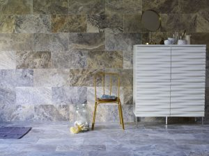 silver filled and honed travertine wall tiles