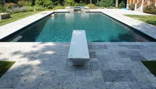 silver unfilled and tumbled french pattern travertine tiles coping and pavers