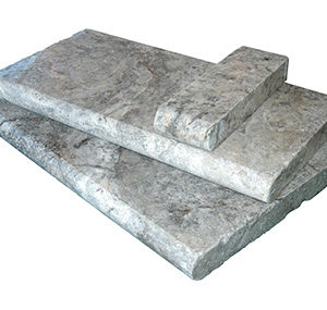 silver travertine unfilled and tumbled bullnose pool coping