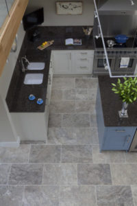 silver travertine filled and honed kitchen tiles