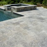 silver unfilled and tumbled travertine pool pavers and coping tiles