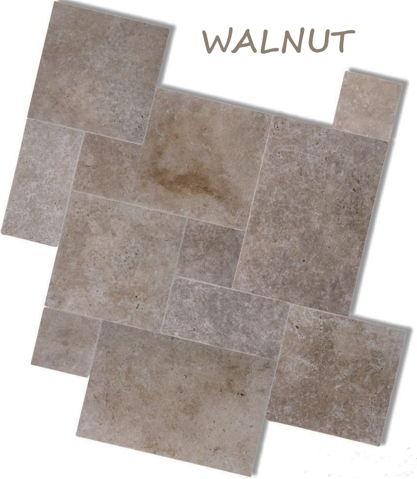 TRAVERTINE WALNUT FRENCH PATTERN TILES & PAVERS
