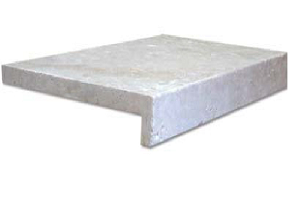 ivory travertine unfilled and tumbled rebate drop face pool coping tiles