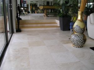 ivory travertine filled and honed indoor tiles