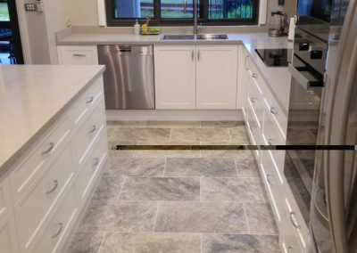 Travertine Silver Tumbled Filled Kitchen Tiles
