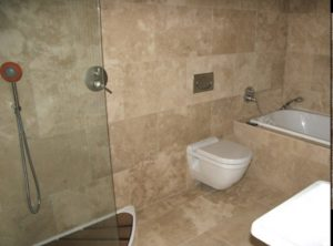 ivory filled and honed travertine tiles bathroom tiles