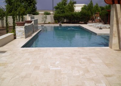 Travertine in ivory non slip pool tiles
