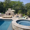 ivory unfilled and tumbled pool pavers and coping tiles