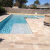 ivory Travertine Tiles french pattern around pool coping