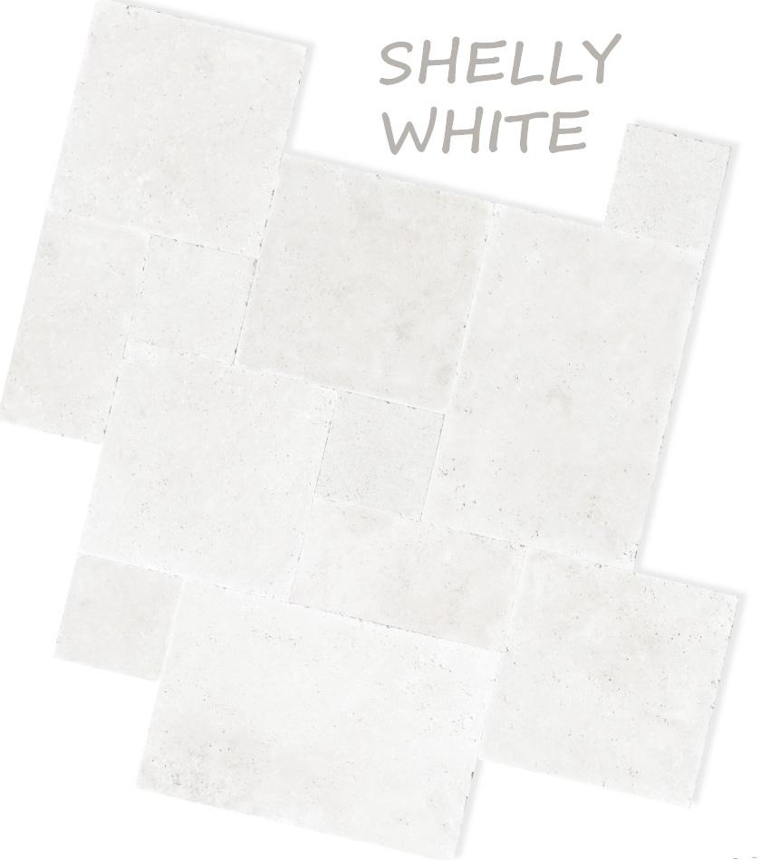 WHITE TRAVERTINE FRENCH PATTERN TILES & PAVERS