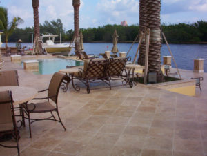 noce travertine unfilled and tumbled pavers and pool coping tiles