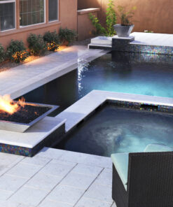 White Limestone pavers and coping around pool