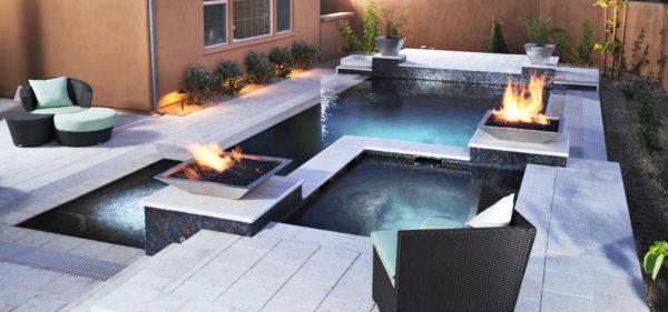 White Limestone pavers and coping around pool