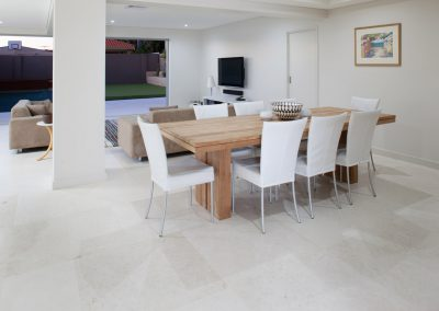 White travertine floor tiles