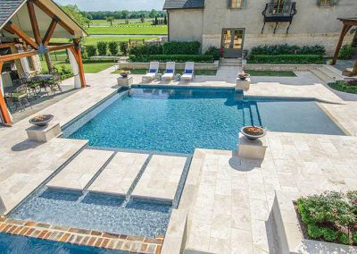 White travertine non slip pool pavers and coping tiles