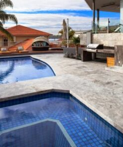 silver travertine unfilled and tumbled outdoor area pool pavers and coping