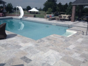 silver unfilled and tumbled french pattern travertine tiles