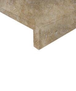 Travertine drop face pool coping tiles.