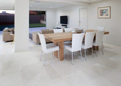White travertine floor tiles