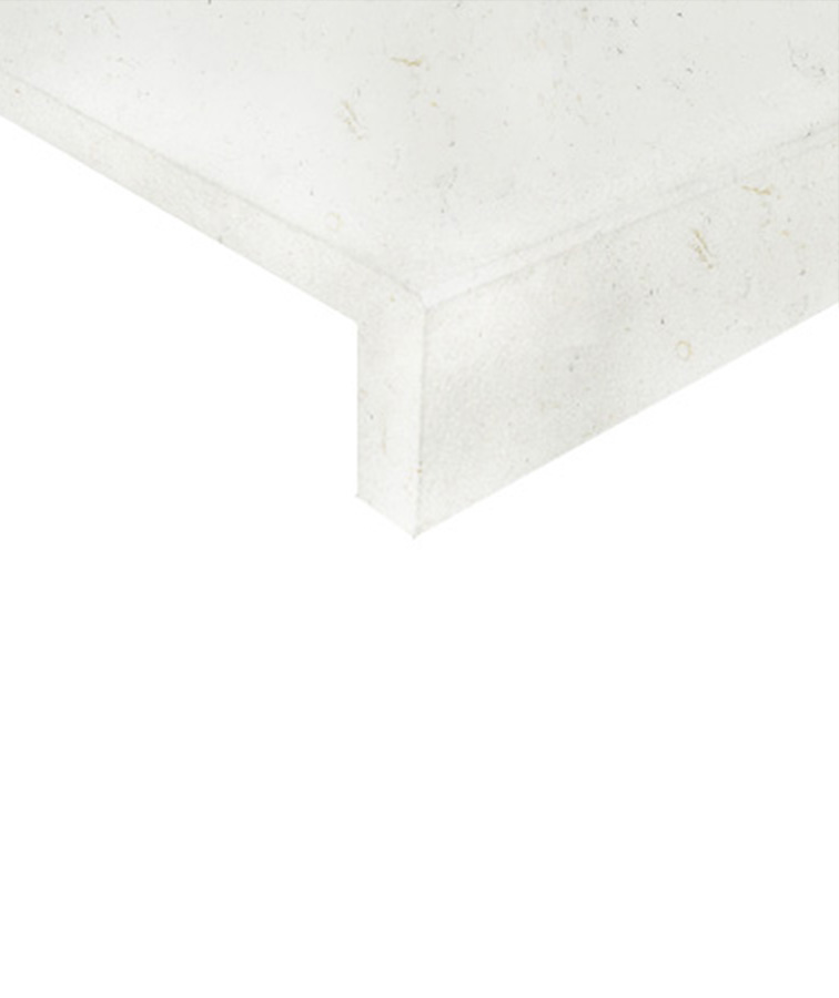 White pool coping drop face pavers and tiles