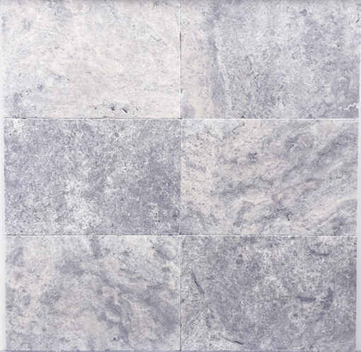 Silver Travertine unfilled and tumbled pavers