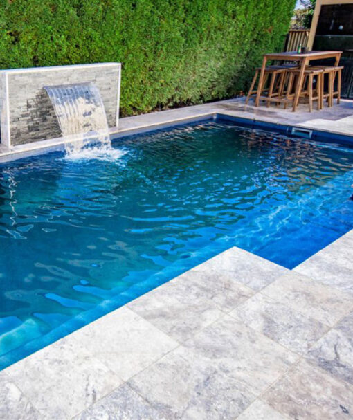 Melbourne travertine pavers in Brisbane silver travertine pool coping