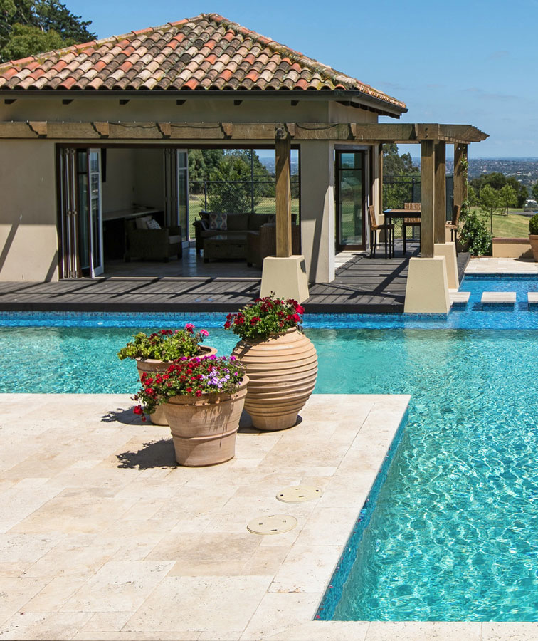 Travertine pools and pool coping tiles