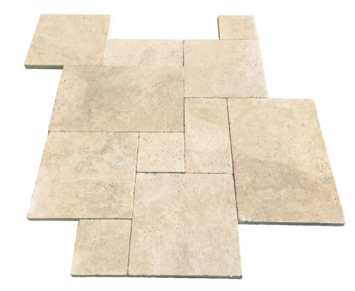 ivory premium french pattern unfilled and tumbled pavers