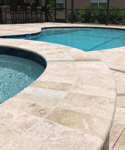 Bullnose tiles in Ivory travertine pavers