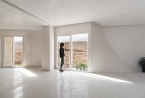 The house is almost completely made of travertine tiles
