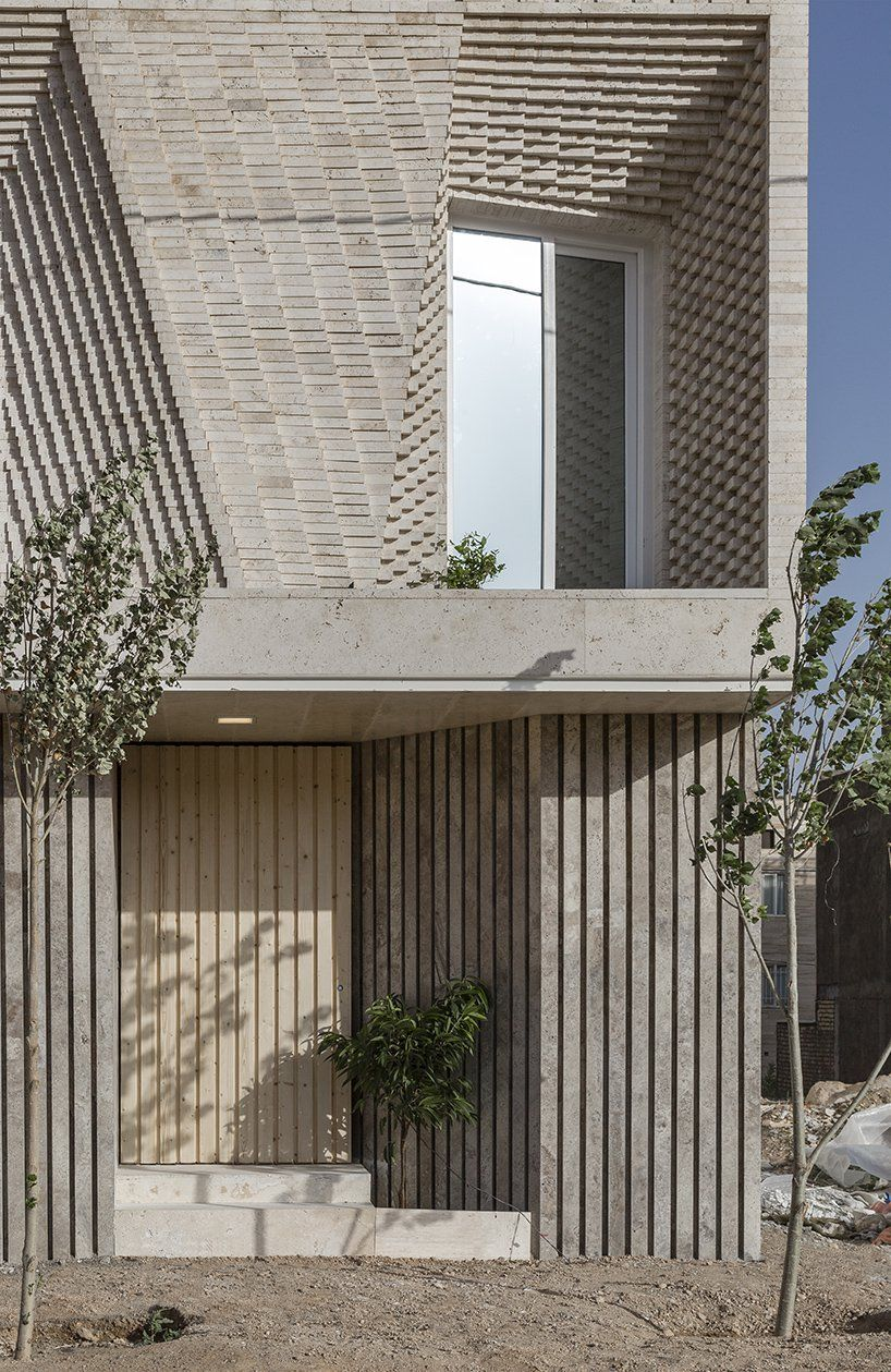 Front door of this travertine tiled house in Tehran, Iran.