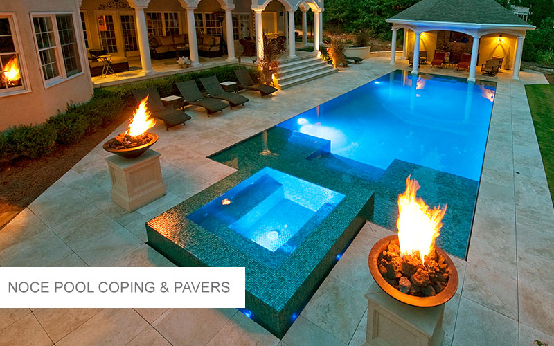 Noce Travertine Pool Coping & Pavers