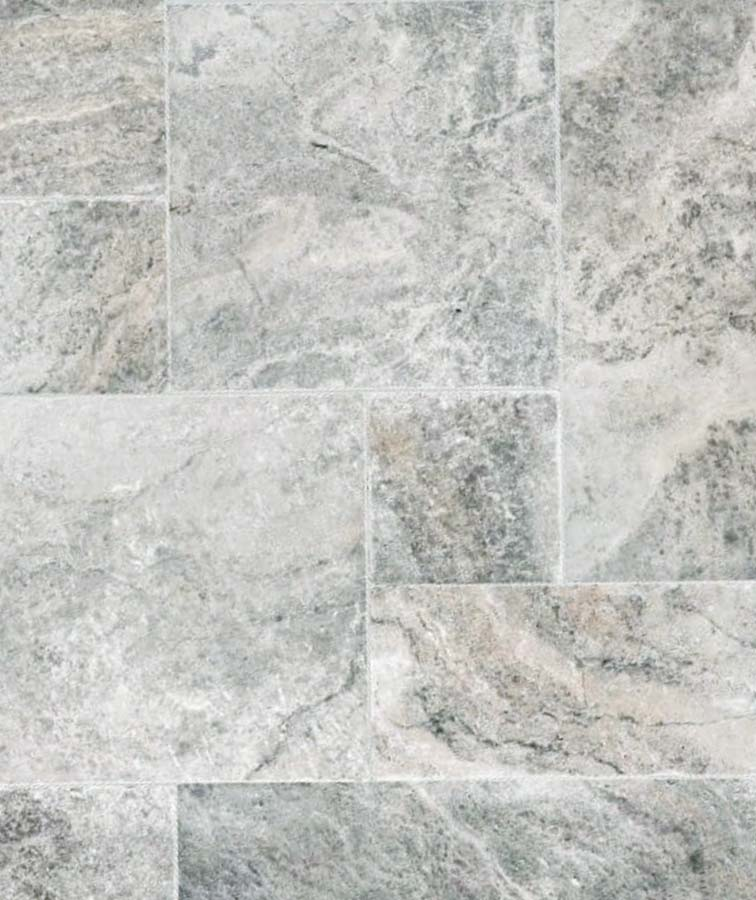 Silver travertine tiles melbourne french pattern