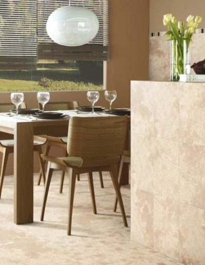 Wall tiles with travertine tiles and pavers.