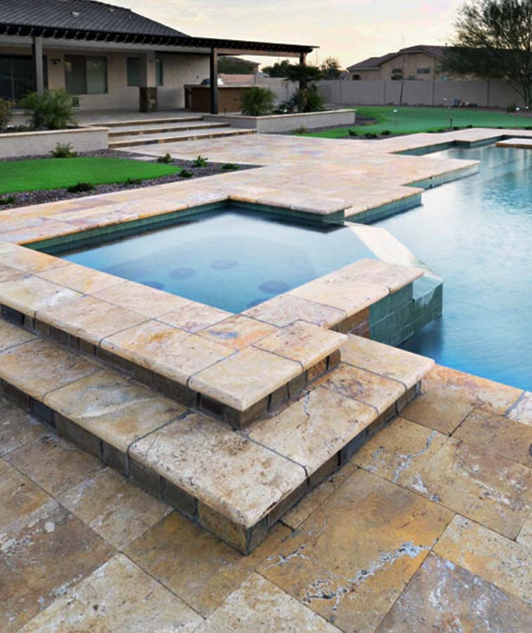 Travertine pool coping bullnose in Melbourne