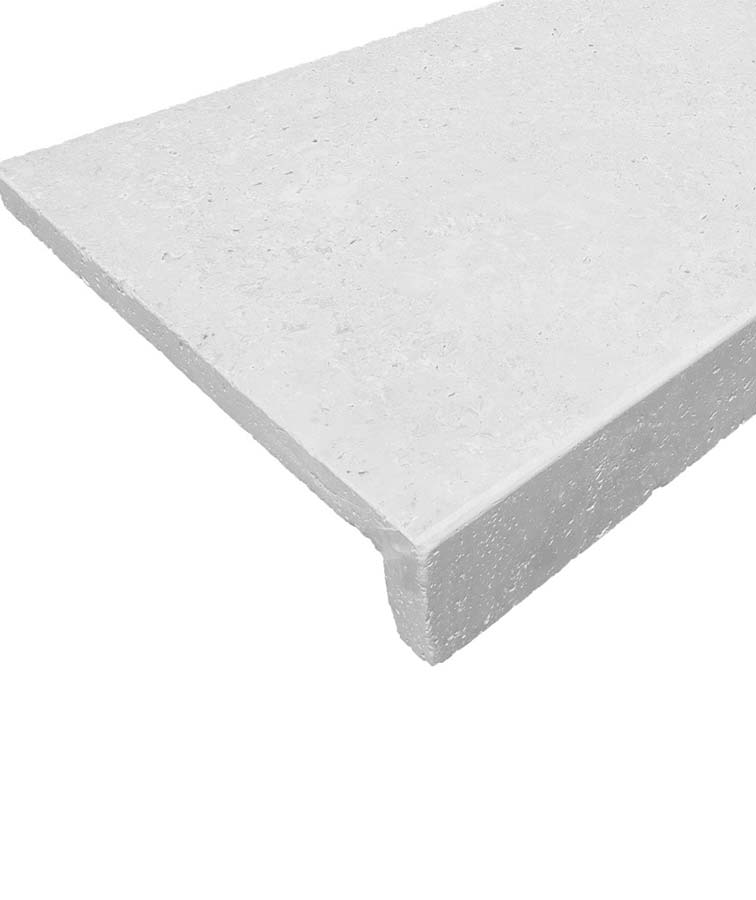 White drop down pool coping tiles rebate pavers