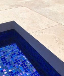 travertine pool coping drop down rebate tiles