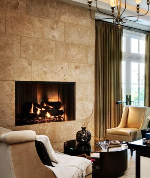 Noce Travertine as a wall feature above a fireplace.
