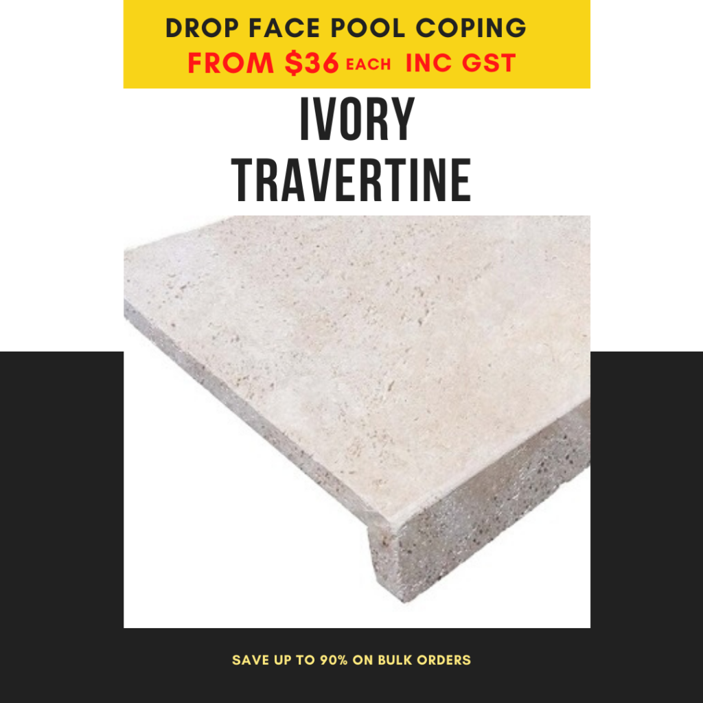 drop face pool coping ivory travertine
