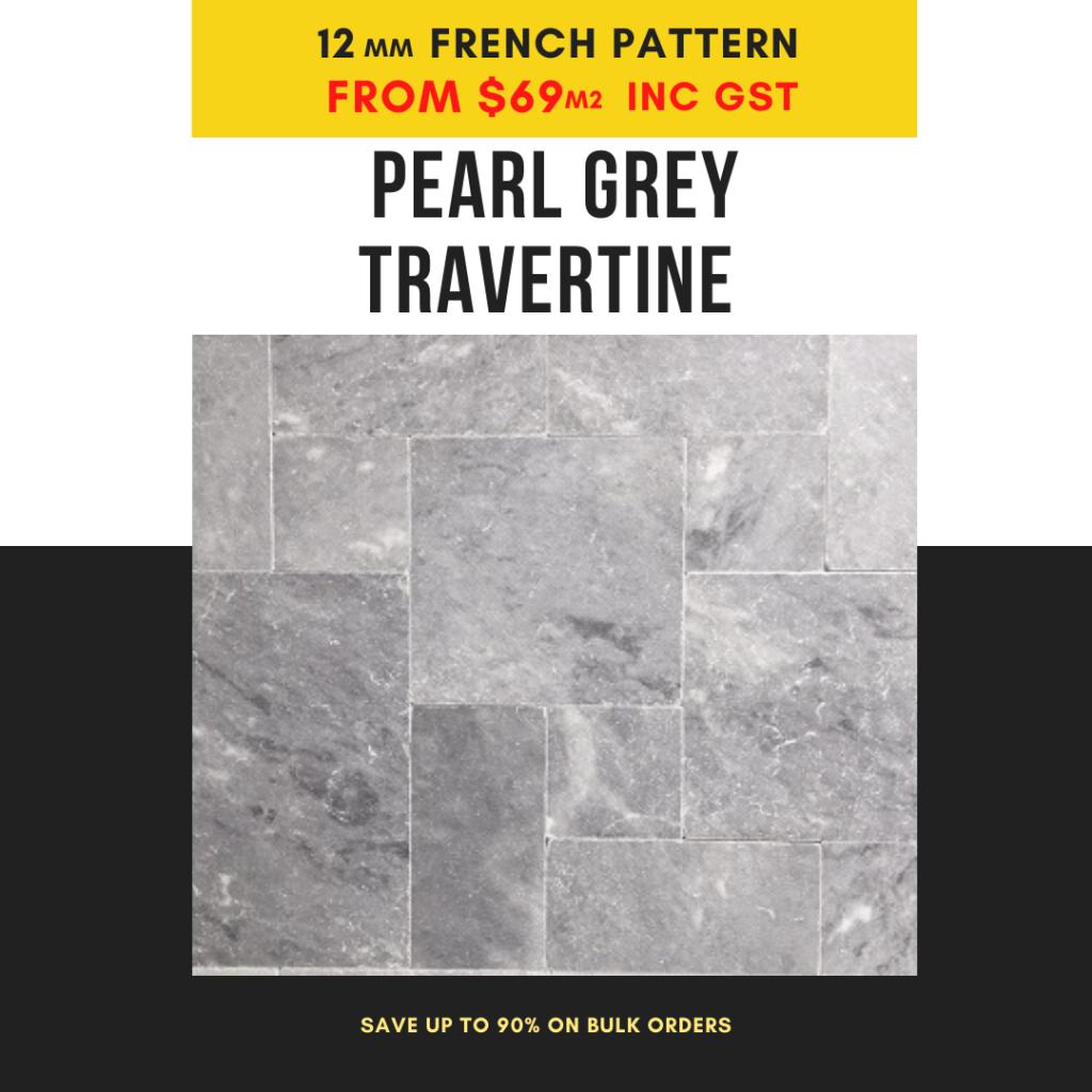 pearl grey travertine 12mm french pattern