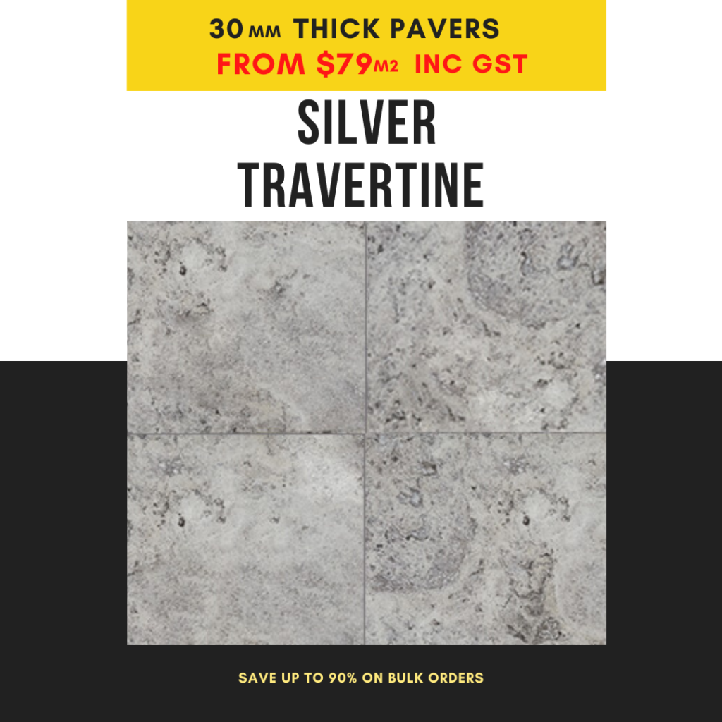 silver travertine 30mm thick pavers